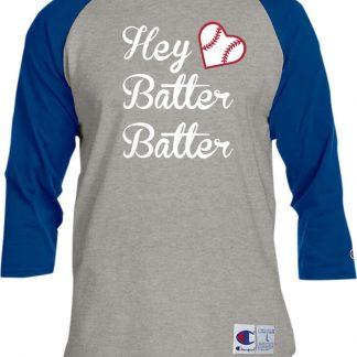 Hey Batter Batter Baseball Heart Women's T-Shirt