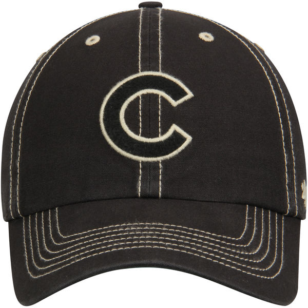 b4599eaf1cb Chicago Cubs  47 Black Groveland Franchise Fitted Baseball Hat ...